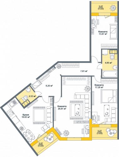 3-комнатная квартира на продажу (106,3 м<sup>2</sup>)