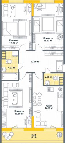 3-комнатная квартира на продажу (97,5 м<sup>2</sup>)