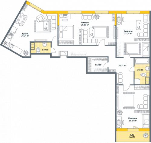4-комнатная квартира на продажу (129,6 м<sup>2</sup>)