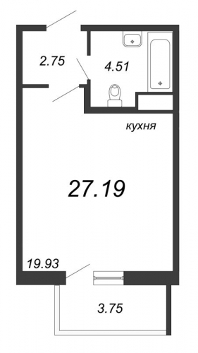 Студия на продажу (27,2 м<sup>2</sup>)