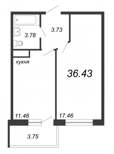 1-комнатная квартира на продажу (36,4 м<sup>2</sup>)