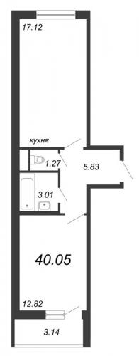 2-комнатная квартира на продажу (40,1 м<sup>2</sup>)