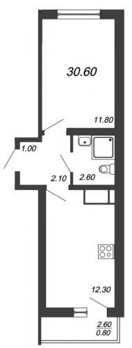 2-комнатная квартира на продажу (30,6 м<sup>2</sup>)