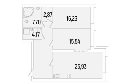 2-комнатная квартира на продажу (90,4 м<sup>2</sup>)