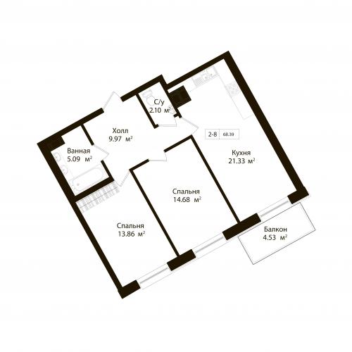 2-комнатная квартира на продажу (68,4 м<sup>2</sup>)
