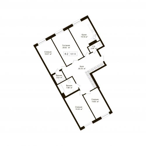 4-комнатная квартира на продажу (137,1 м<sup>2</sup>)