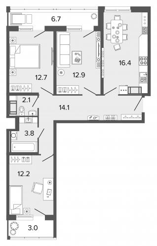 3-комнатная квартира на продажу (74,1 м<sup>2</sup>)
