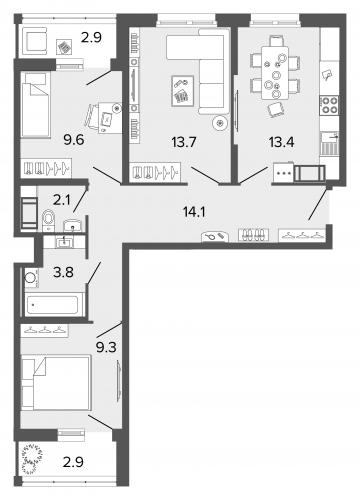 3-комнатная квартира на продажу (66,0 м<sup>2</sup>)