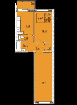 3-комнатная квартира на продажу (48,0 м<sup>2</sup>)