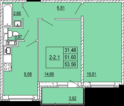 3-комнатная квартира на продажу (53,0 м<sup>2</sup>)