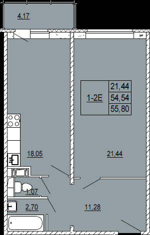 2-комнатная квартира на продажу (55,0 м<sup>2</sup>)