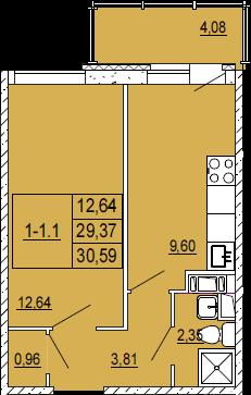 1-комнатная квартира на продажу (30,0 м<sup>2</sup>)