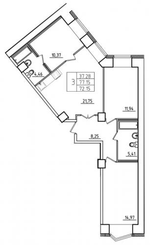 4-комнатная квартира на продажу (77,1 м<sup>2</sup>)