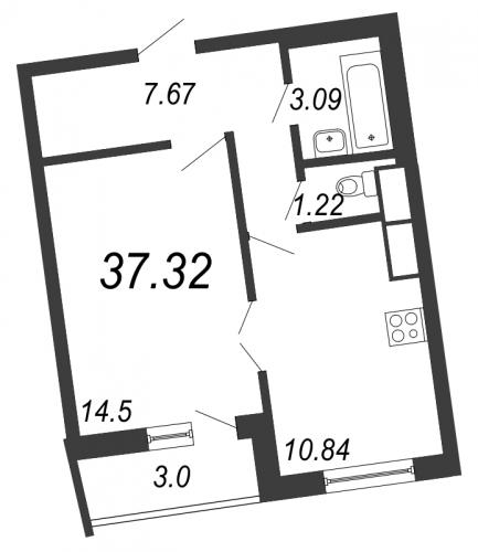 1-комнатная квартира на продажу (37,3 м<sup>2</sup>)