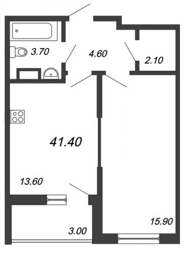 1-комнатная квартира на продажу (41,4 м<sup>2</sup>)