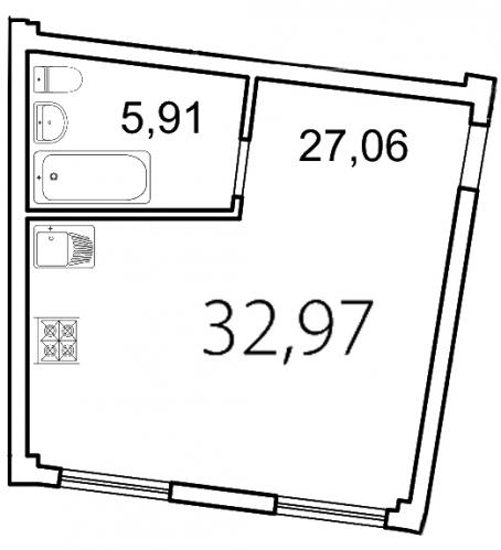 Студия на продажу (33,0 м<sup>2</sup>)