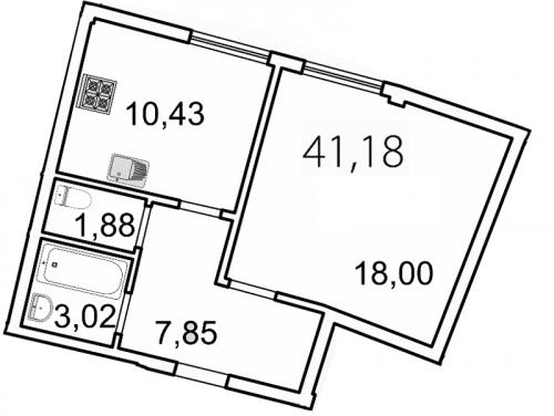 1-комнатная квартира на продажу (41,2 м<sup>2</sup>)