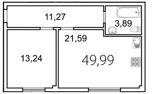 1-комнатная квартира на продажу (50,0 м<sup>2</sup>)