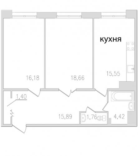 2-комнатная квартира на продажу (73,9 м<sup>2</sup>)