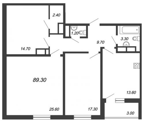 3-комнатная квартира на продажу (89,3 м<sup>2</sup>)