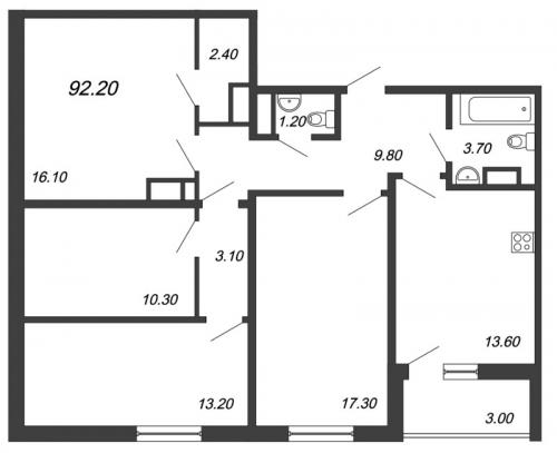 4-комнатная квартира на продажу (92,2 м<sup>2</sup>)