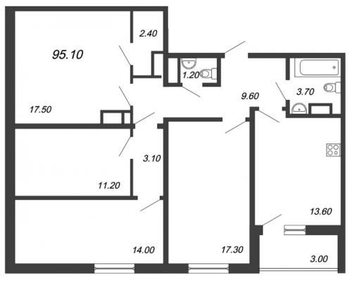4-комнатная квартира на продажу (95,1 м<sup>2</sup>)