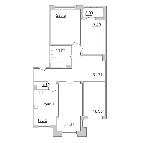 4-комнатная квартира на продажу (145,4 м<sup>2</sup>)