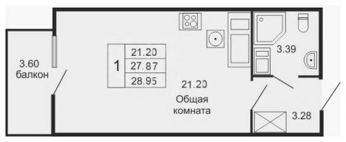 Студия на продажу (28,7 м<sup>2</sup>)
