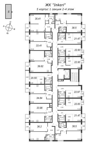 1-комнатная квартира на продажу (33,4 м<sup>2</sup>)