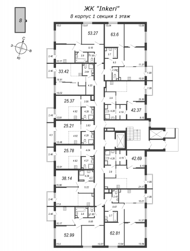 2-комнатная квартира на продажу (38,1 м<sup>2</sup>)