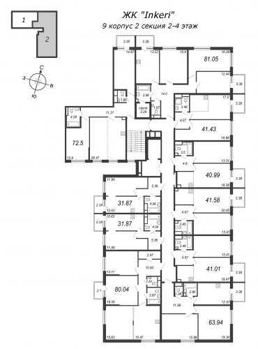 1-комнатная квартира на продажу (31,9 м<sup>2</sup>)