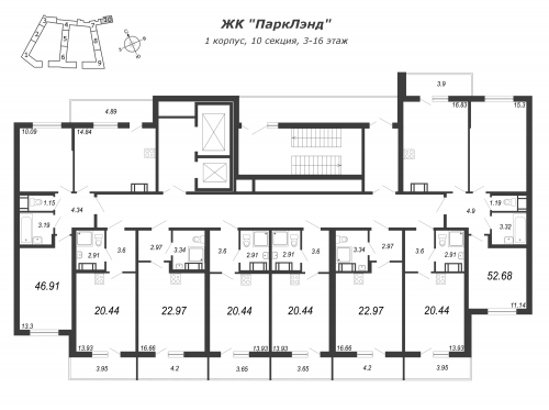 3-комнатная квартира на продажу (46,9 м<sup>2</sup>)