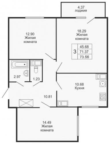 3-комнатная квартира на продажу (73,6 м<sup>2</sup>)