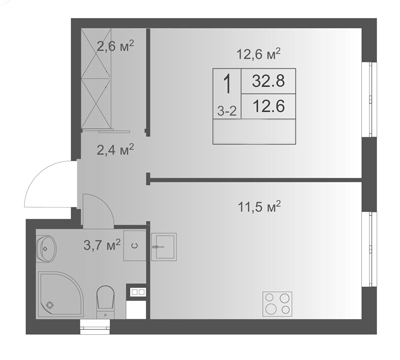 1-комнатная квартира на продажу (32,8 м<sup>2</sup>)
