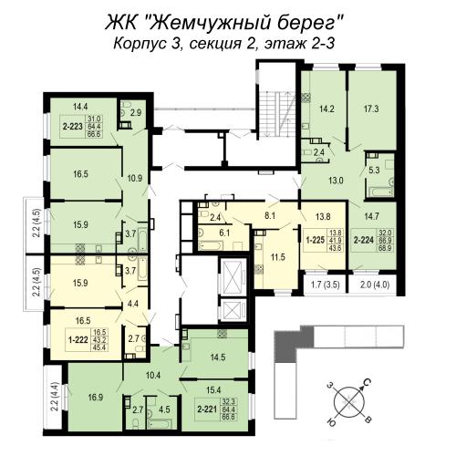 2-комнатная квартира на продажу (66,6 м<sup>2</sup>)