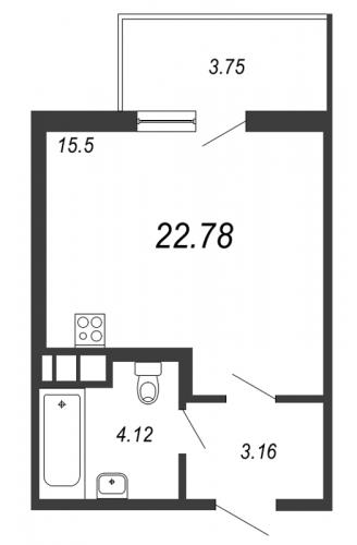 Студия на продажу (22,8 м<sup>2</sup>)