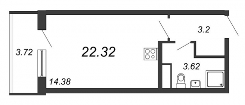 Студия на продажу (22,3 м<sup>2</sup>)