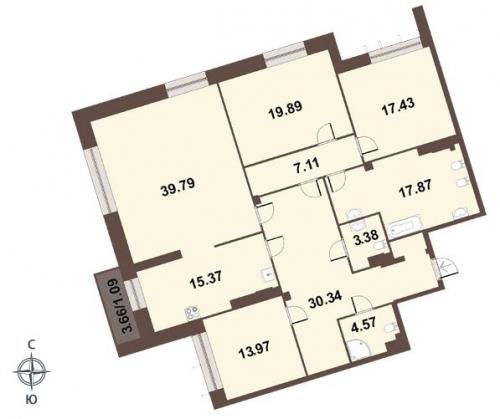 4-комнатная квартира на продажу (171,4 м<sup>2</sup>)