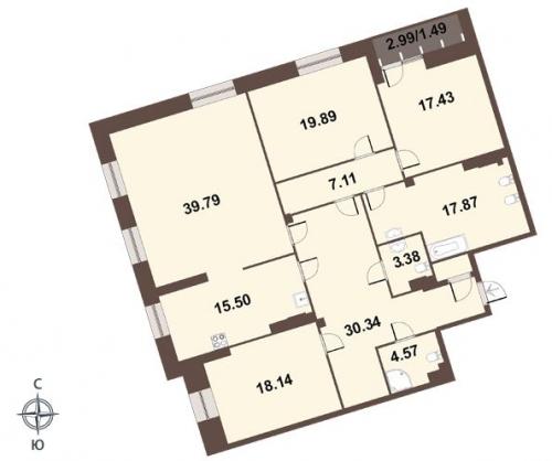 4-комнатная квартира на продажу (177,4 м<sup>2</sup>)