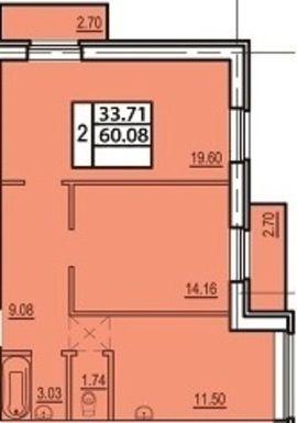 2-комнатная квартира на продажу (60,1 м<sup>2</sup>)