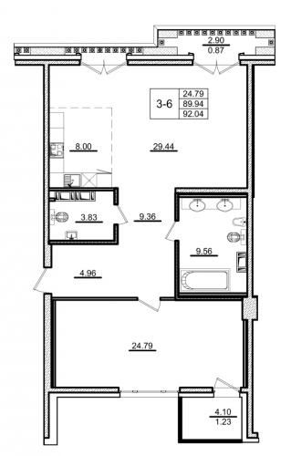 1-комнатная квартира на продажу (92,0 м<sup>2</sup>)