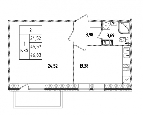 1-комнатная квартира на продажу (47,4 м<sup>2</sup>)