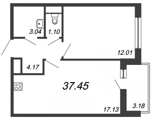 2-комнатная квартира на продажу (37,5 м<sup>2</sup>)