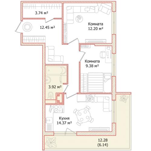 2-комнатная квартира на продажу (62,2 м<sup>2</sup>)