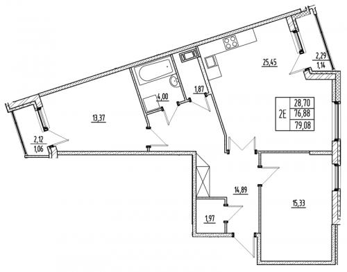 3-комнатная квартира на продажу (76,9 м<sup>2</sup>)