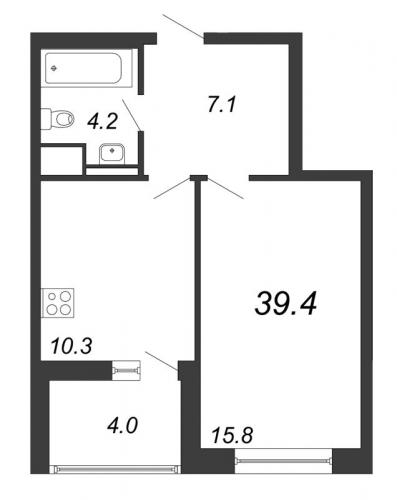 1-комнатная квартира на продажу (39,4 м<sup>2</sup>)