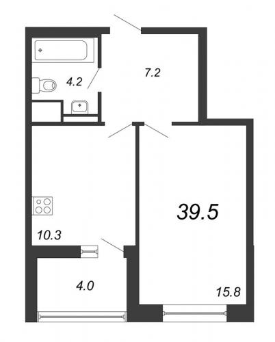 1-комнатная квартира на продажу (39,5 м<sup>2</sup>)