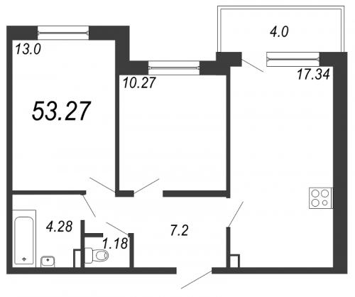 3-комнатная квартира на продажу (53,3 м<sup>2</sup>)
