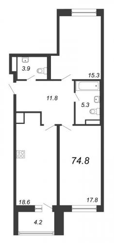 3-комнатная квартира на продажу (74,8 м<sup>2</sup>)