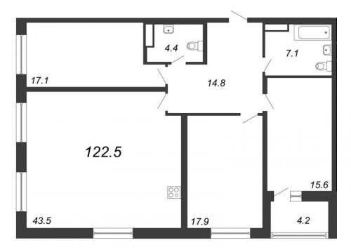 4-комнатная квартира на продажу (122,5 м<sup>2</sup>)